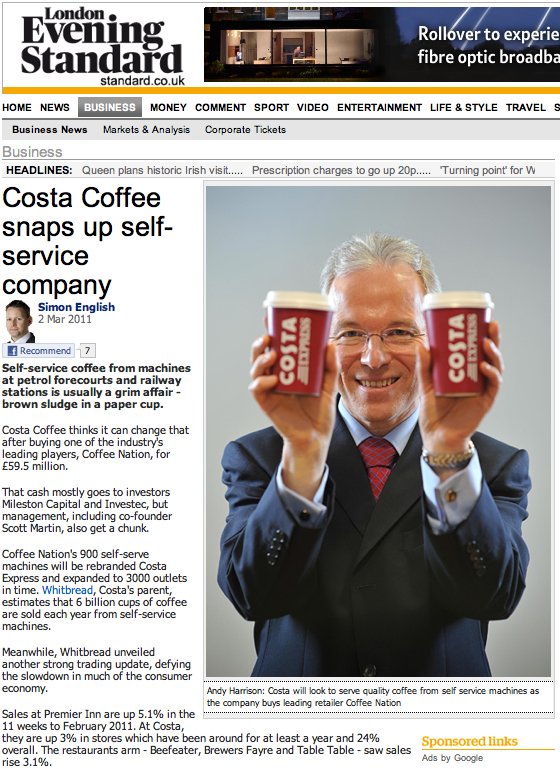 Evening Standard Online: Andy Harrison, Whitbread CEO