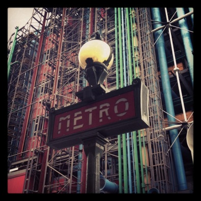 Metro sign at the Pompidou Centre
