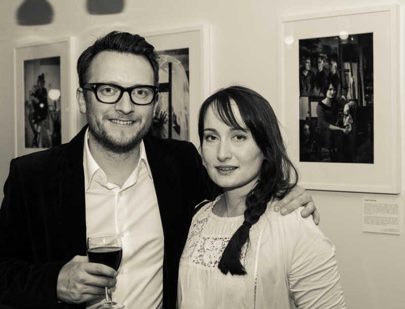 Me with Isobel Peachey, one of my portrait victims, during the preview night at Tried and True cafe gallery last week