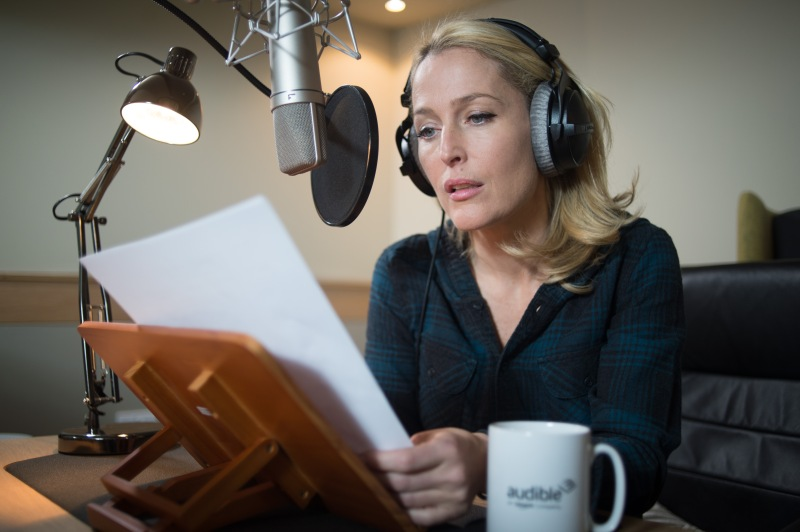 GILLIAN IN THE RECORDING BOOTH AT AUDIBLE UK © Daniel Lewis
